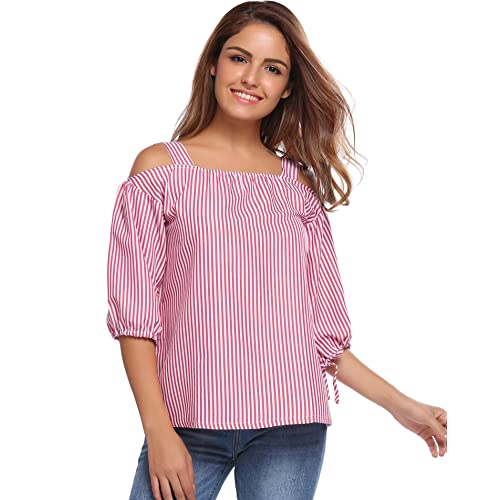 a4b02a219d82d Zeagoo Women s Casual Cold Shoulder Stripe Tops 3 4 Sleeve T Shirt Loose  Fit Tie Cuff