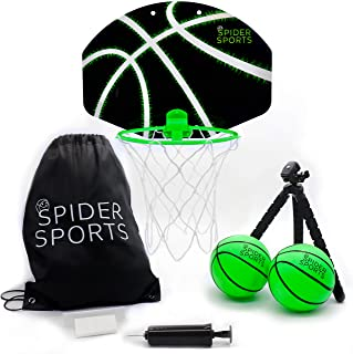 Spider Hoop Basketball Bundle - Portable Toy Basketball Hoop for Over-The-Door, Indoor, Outdoor, or Anywhere Play!