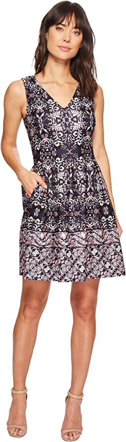 Vince Camuto - Printed V-Neck Fit and Flare