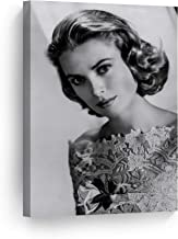 SmileArtDesign Lovely Hollywood Icon Grace Kelly Poses for a Portrait Black and White Wall Art Canvas Print American Icon Artwork Living Room Bedroom Home Decor Ready to Hang Made in USA 12x8