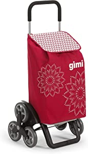 GimiGimi Tris Floral- Carro de la compra, con 6 ruedas, bolsa impermeable de poliéster, capacidad de 56 litros, rojo, 41 x 51 x 102 cm