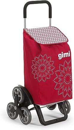 GIMI Tris Floral Carrello Portaspesa, Sistema 3+3 Ruote, Saliscale, Portata 30 kg, Acciaio/Tessuto, Rosso, 51 x 41 x 102 cm