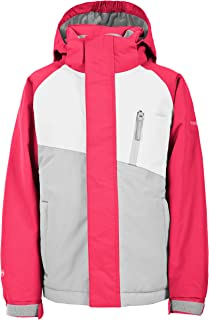 Trespass Crawley 防水滑雪服带可拆卸兜帽,脚踝束带口袋和脚踝拉链适合儿童/中性/女孩和男孩,