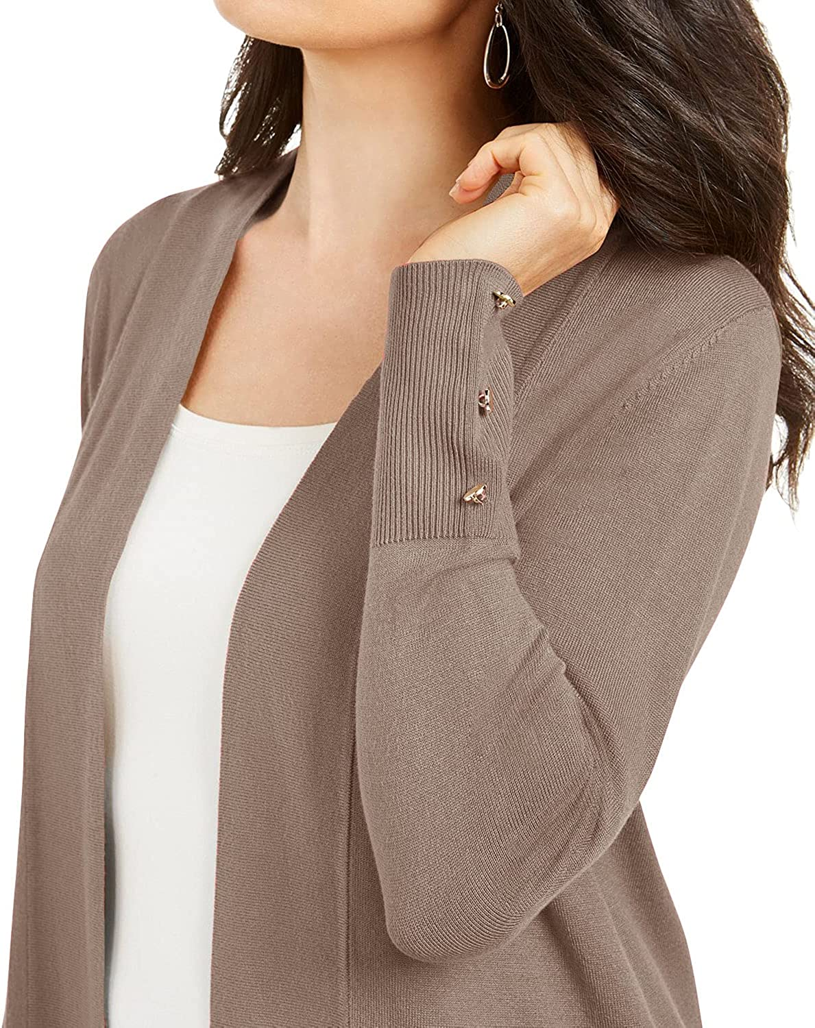 Women's Casual Long Sleeve Sweater Open Front Solid Color Pocket Cardigan Outwear with Cufflinks