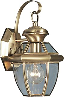 Livex Lighting 2051-01 Monterey 1 Light Outdoor Antique Brass Finish Solid Brass Wall Lantern  with Clear Beveled Glass