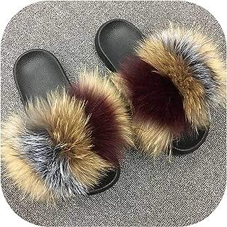 little-kawaii fur slippers Chanclas de Piel de Zorro para Mujer