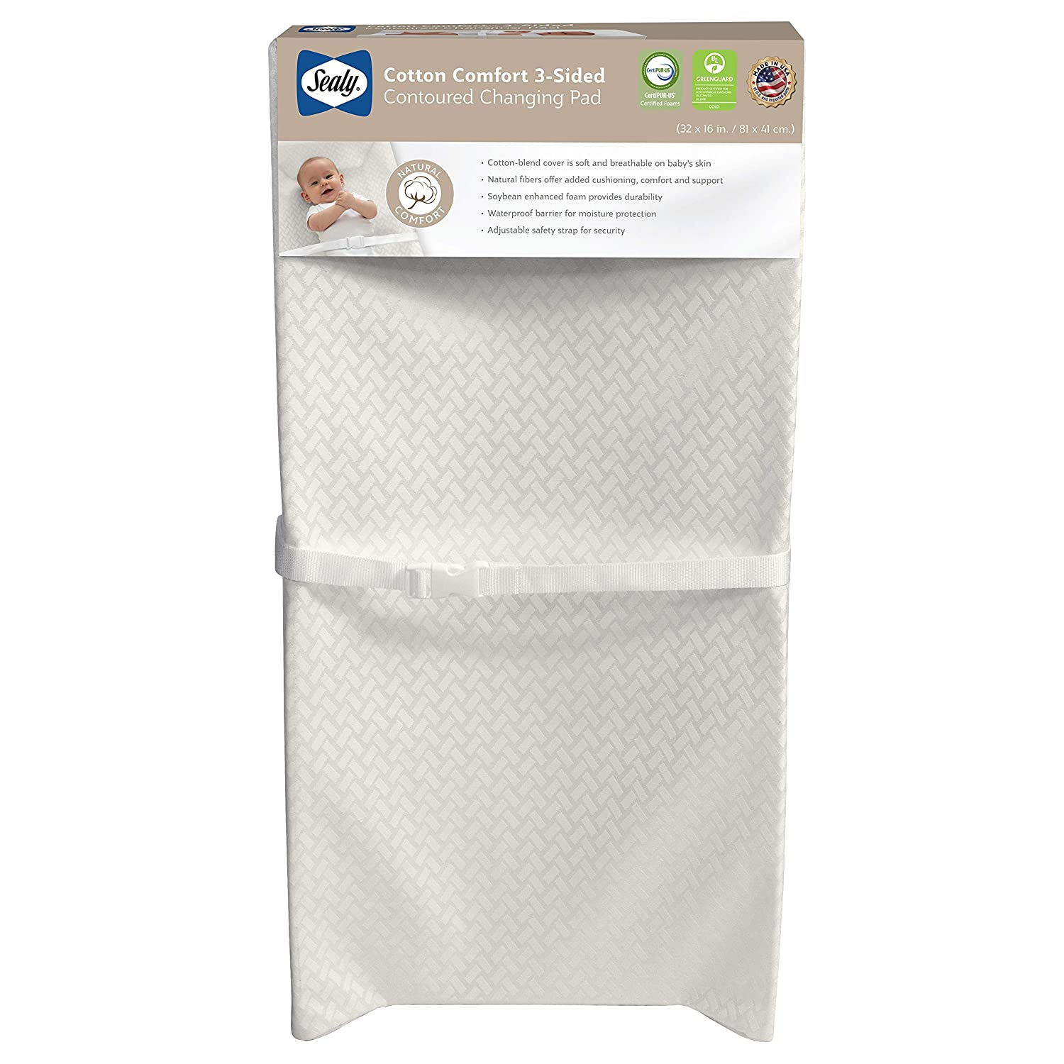 Sealy Cotton Comfort 3-Sided Contoured Changing Pad