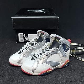 Pair Air Jordan VII 7 Retro Olympic Dream Team White Silver OG Sneakers Shoes 3D Keychain 1:6 Figure + Shoe Box