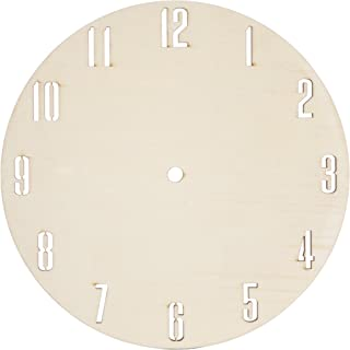 Darice 30020648 DIY Clock Face Unfinished Wood Circle with Laser Cut Numbers Clock Face