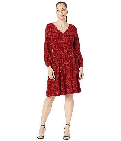 Calvin Klein Glitter Jersey Belted Dress with V-Neck (Red/Black) Women
