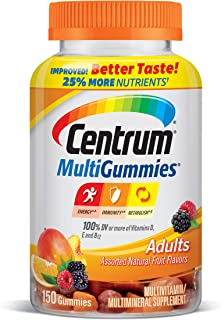 Centrum MultiGummies Gummy Multivitamin for Adults, Multivitamin/Multimineral Supplement with Vitamins D, B and E, Assorte...