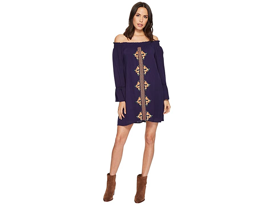 Miss Me Off the Shoulder Bell Sleeve Dress (Navy) Women
