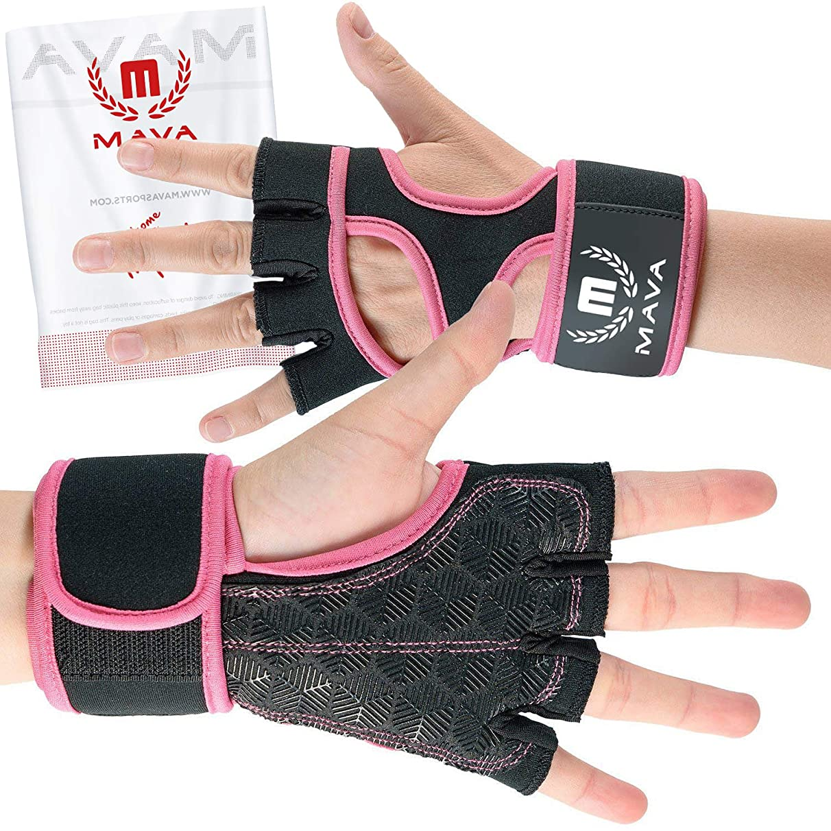 Cross Training Gloves with Wrist Support for Gym Workouts, WOD, Weightlifting & Fitness– Silicone Padded Workout Hand Grips Against Calluses with Integrated Wrist Wraps by Mava