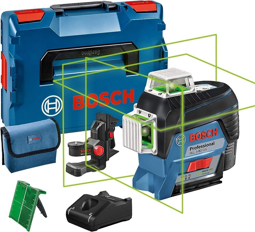 Bosch professional gll 3-80 cg system, livella laser verde,con app, raggio d'azione fino a 30 m 0601063T00