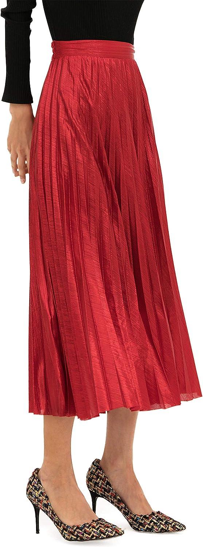 INDJXND Sequin Pleated Midi Skirts for Women, Holiday Flowy Metallic Tulle Sparkle Maxi Skirt Plus Size