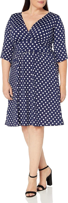 Star Vixen Women's Plus Size 3/4 Sleeve Surplice Fauxwrap Top with Self-tie Skinny Belt
