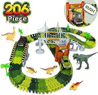 AOKESI Dinosaur Toys Tracks Car Boy Gifts,206 Pieces Dinosaur Train Track Play Set with 2 Pack Dinosaur Car