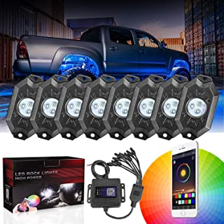 DJI 4X4 8 Pods RGB LED Rock Light Kits with Bluetooth Controller Waterproof Multicolor Neon LED Lights Underglow Trail Rig Lights for Trucks SUV ATV Boat Motorcycle Off Road Jeep