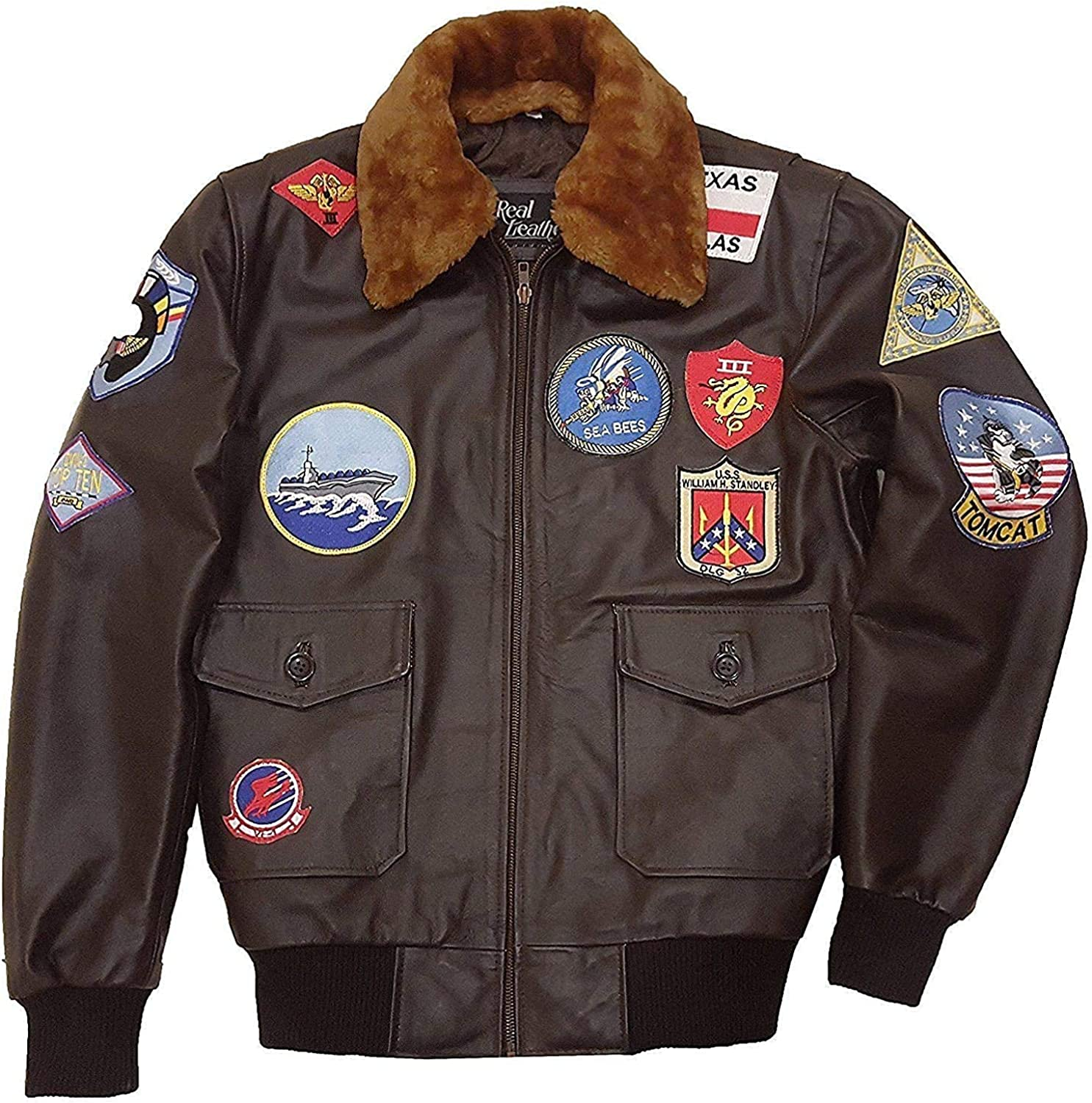 Mens Top Aviator USAAF Pilot Flying Tom Cruise Multiple Patches G1 Fur Collar Brown Bomber Leather Jacket