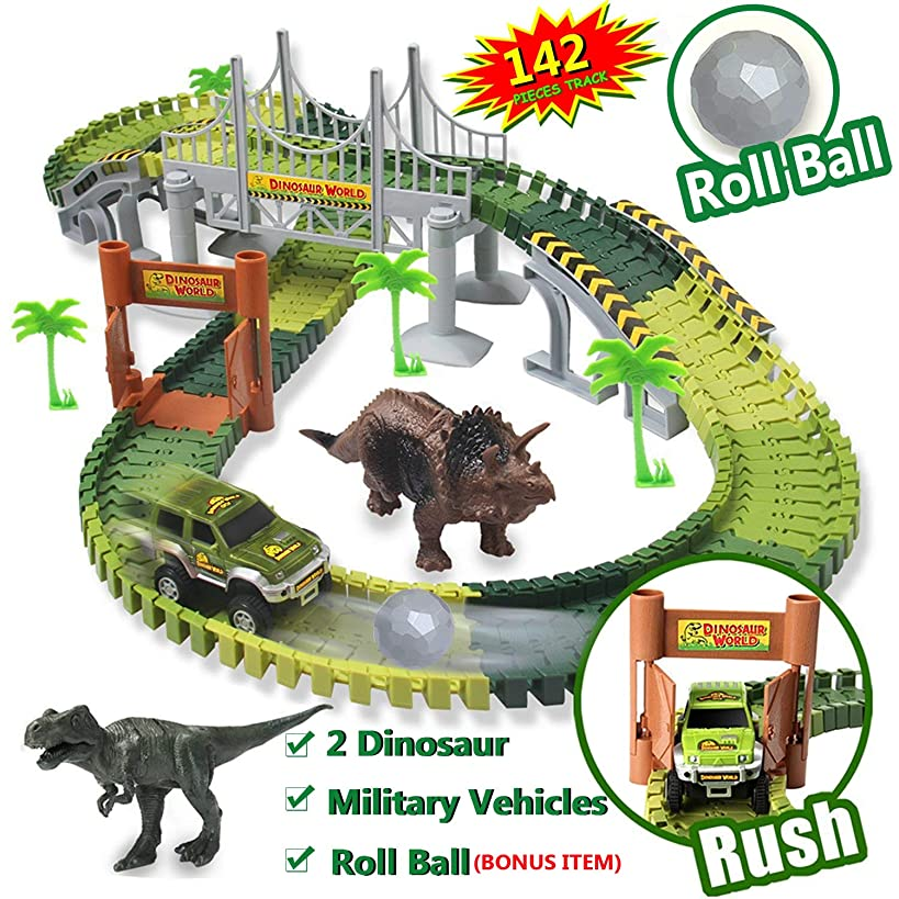 Dinosaur Toys World Car Track Set,with 142 Pieces Flexible Tracks Set,2 Dinosaur Toys,1 Military Vehicles and 1 Plastic Roll Ball More Accessories, for Boys and Girls