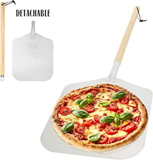 Aluminum Pizza Peel Paddle with Detachable Wooden Handle, 12