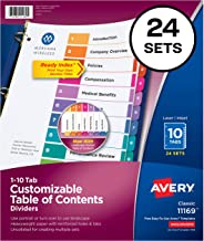 Avery Ready Index 10-Tab Binder Dividers, Customizable Table of Contents, Multicolor Tabs, 24 Sets (11169)