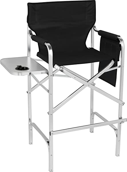 Trademark Innovations 45 Aluminum Frame Tall Metal Director S Chair With Side Table Black