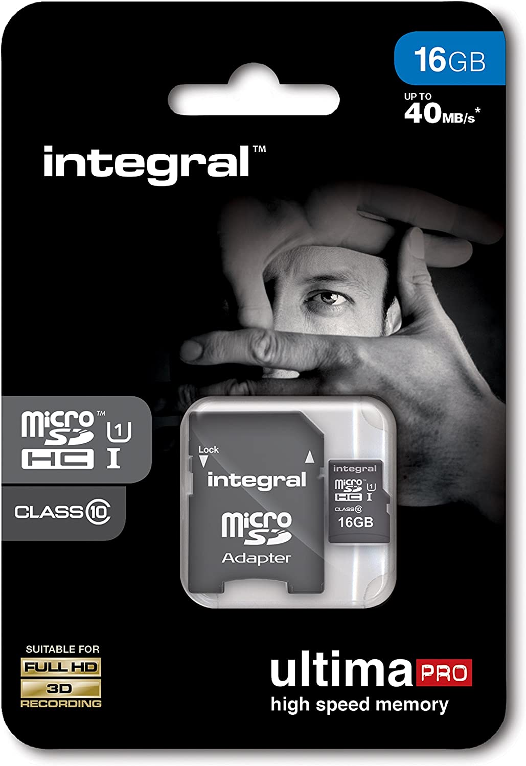 Integral UltimaPro 16GB Class 10 Micro SDHC Memory Card with Adapter