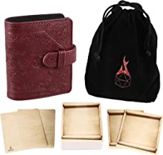 Forged Dice Co Book of Incantations (Dice Edition) & Deck of Dry Erase Spell Cards with Velvet Storage Bag - Spellbook Cards Holder for Spell or Monster Cards - Fits DND 5th Edition or Magic Cards