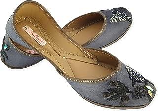 Fulkari Prime Birds Women's Soft Leather Bite and Pinch Free Punjabi Flat Ladies Jutti Ethnic Mojari Jutis