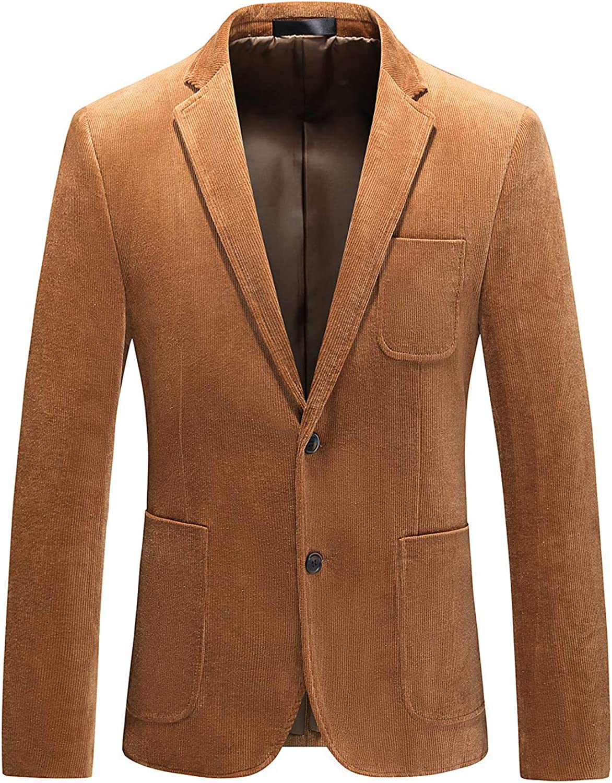 MOGU Mens Corduroy Blazer Fall Winter Casual Sport Coats Slim Fit Suit Jacket