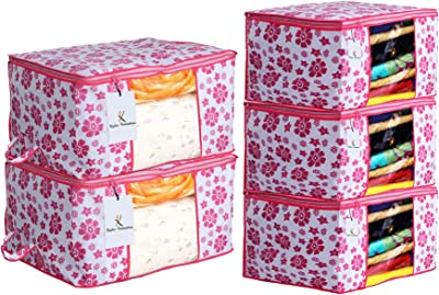 Kuber Industries Flower Printed Non Woven 3 Pieces Saree Cover and 2 Pieces Underbed Storage Bag, Cloth Organizer for Storage, Blanket Cover Combo Set (Pink) -CTKTC038610