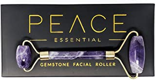 Luxury Amethyst Facial Roller | 100% Natural Amethyst Face Roller | Dual Facial Rollers Massager | Anti-Aging Slimming Face Massage Tool | Detofiy + Glow