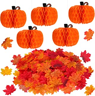 5 Pieces Tissue Paper Pumpkin and 200 Pieces Autumn Maple Leaves Fall Artificial Colored Maple Leaves for Halloween Thanksgiving Party Favor