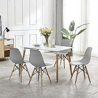 Econo® - Mesa de comedor y 4 sillas de madera maciza blanca rectangular 120 x 80 x 75 cm con 4 sillas grises