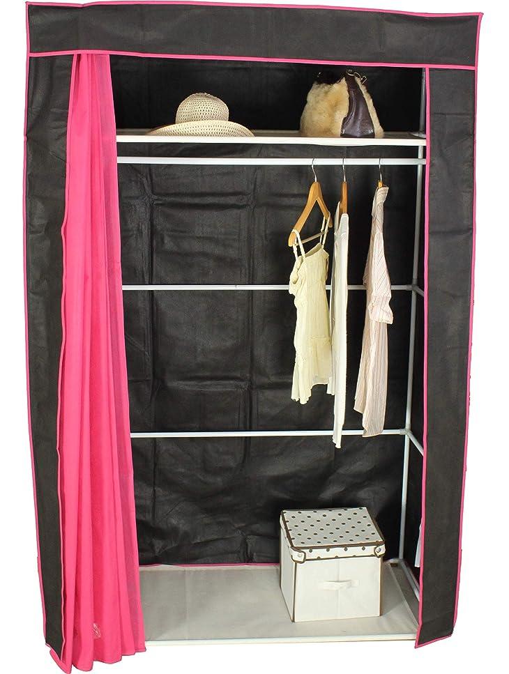 最愛の何か公ハンガーラック カバー付き 120 ハンガー ラック 棚付 不織布 カバー ブラック×ピンク