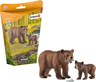 Schleich Wild Life, 4-Piece Playset, Animal Toys for Kids Ages 3-8, Grizzly Bear Mother with Cub and Fish