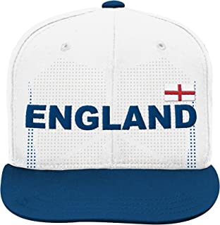 World Cup Soccer England Boys Jersey Hook Flag Snapback Cap with Adjustable Snap Closure, White