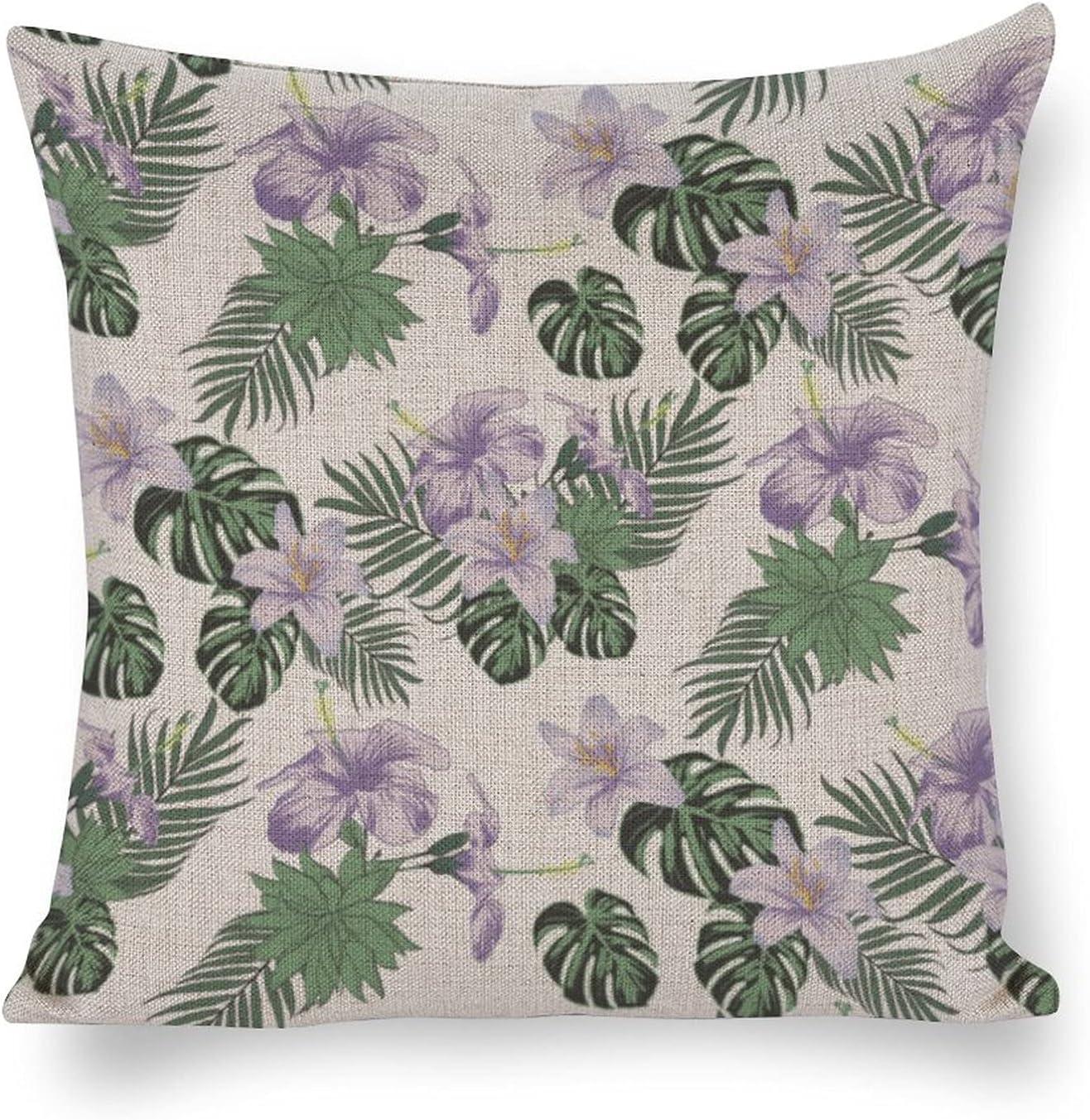 UTF4C Flower Plant Leaf lowest price Terrestrial Sofa Max 59% OFF Cotton Linen Cush