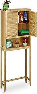 Relaxdays Gabinete Armario LAMELL para el Cuarto de baño, Hecho de bambú, 170 x 70 x 22.5 cm, Madera, Puertas metálicas, Color, Marrón Natural, 176 x 70 x 22,5 cm