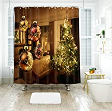 AMDXD 100% Polyester Shower Curtain 72x78Inch (180x200CM), Glowing Christmas Tree with Christmas Balls 3D Shower Curtains ...