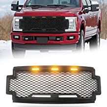 Modifying Grille Front Mesh Grill Raptor Style Fit for 2018-2019 Ford F250 F350 F450 Super Duty - with Amber LED Lights and Letters - Matte Black