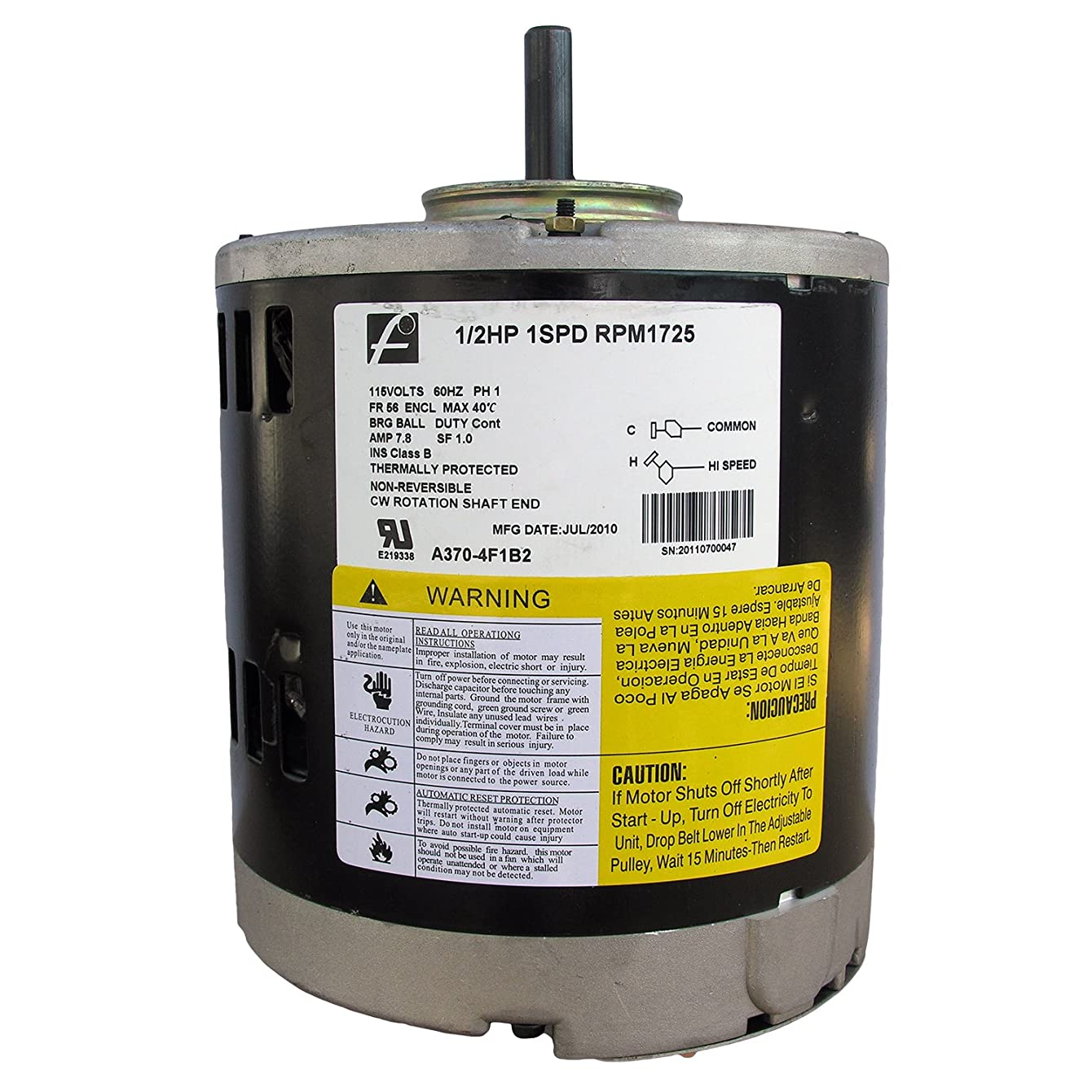 LASCO 05-1404 115-volt 1/2 HP Single Speed Evaporative Swamp Cooler Motor with 1/2-Inch Shaft