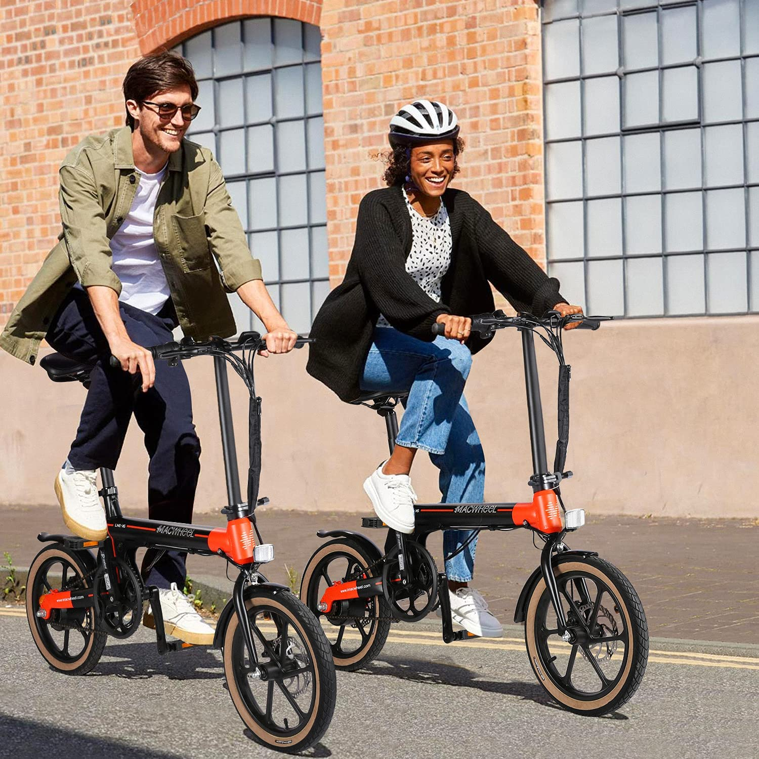 man and woman riding with a cheap electric bike under $1,000