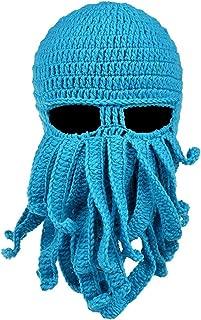 WENDYWU Beard Hat Octopus Beanie Hat Knit Winter Warm Windproof Mask Funny Cap