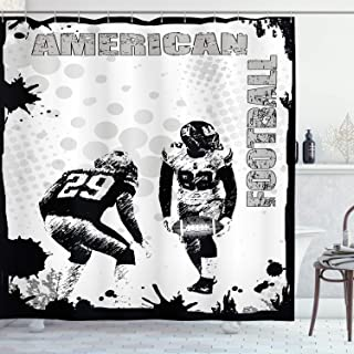Ambesonne Sports Shower Curtain, Grungy American Football Image International Team World Cup Kick Play Speed Victory, Cloth Fabric Bathroom Decor Set with Hooks, 70