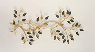 Artact Wall Art Branches of Leaf high Gloss Gold, Grey Finish on Metal