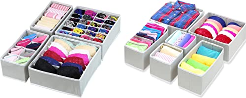 Simple Houseware Closet Underwear Organizer Drawer Divider 4 Set + 6 Set Drawer Divider Baskets Bins