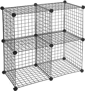 AmazonBasics - Estantes de almacenamiento Cuatro cubos de alambre - Negro