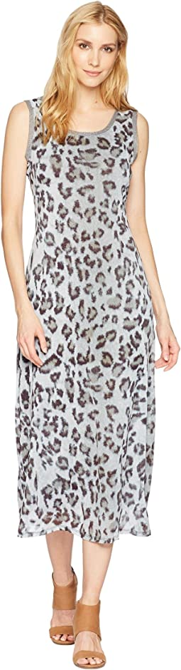 Printed Mesh Scoop Neck Dress